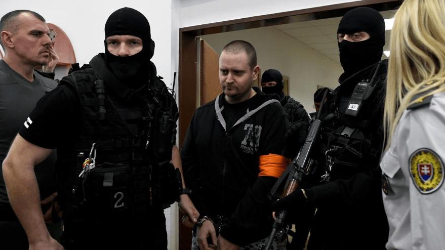 Miroslav Marcek enters the courtroom in Slovakia
